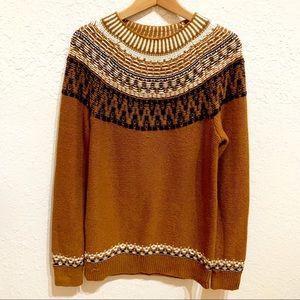 Gap Reverse Fair Isle Wool Blend Sweater Tobacco